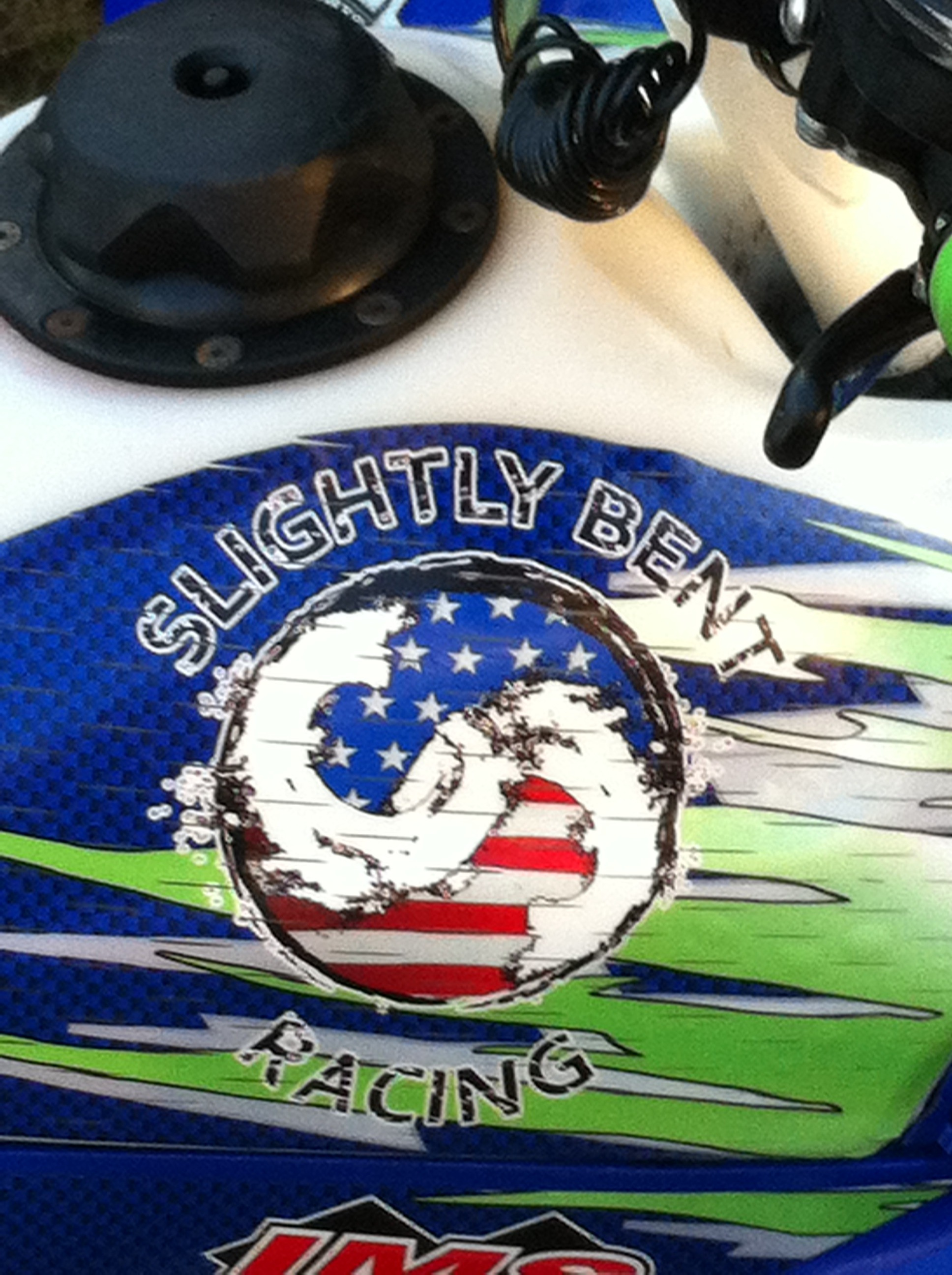 Slightly Bent Racing American Flag Logo